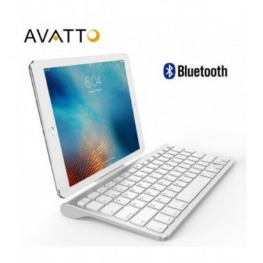 AVATTO teclado de tableta inalámbrico Bluetooth Ultra delgado con soporte, 78 teclas para tableta, ipad, iphone, escritorio, ord
