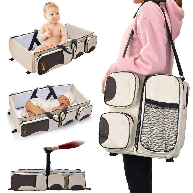 Bolsa de cambio portátil 3 en 1, bolsa de pañales multifunción para bebés, para cochecito, impermeable, bolsa de viaje para b...