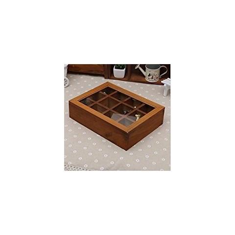Caja de Té de madera de 12 compartimientos Hogar