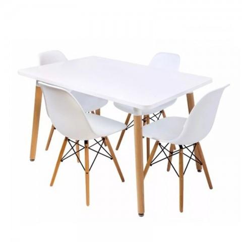 4 sillas Eames + mesa rectangular Mesas