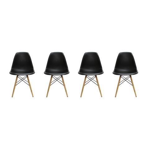 Sillas Eames DSW. Juego Cuatro Sillas Color Negro Sillas Modernas Tipo Eames DSW
