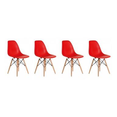 Sillas Eames DSW. Juego Cuatro Sillas Color Rojo