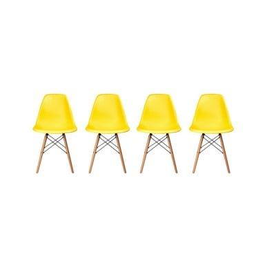 Pack de 4 Sillas Modernas tipo Eames DSW Color Amarillo
