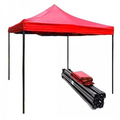 Toldo plegable 3x3 metros. Color Rojo Outdoor