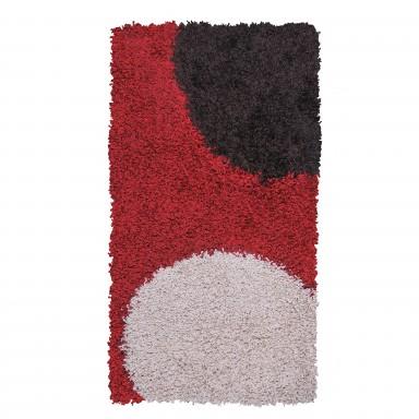 Alfombra Shaggy Roma 50x90 Círculos Rojo