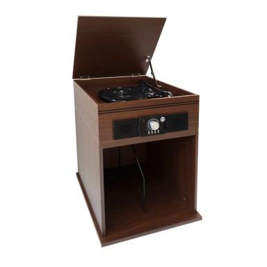 Tocadisco vintage con base de madera