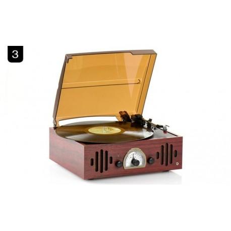 Tocadisco Bluetooth Madera Oscura con Radio
