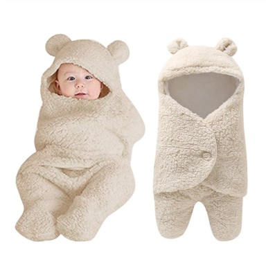 Bebé recién nacido bonito algodón recibir blanco manta de dormir niño niña envolver Swaddle