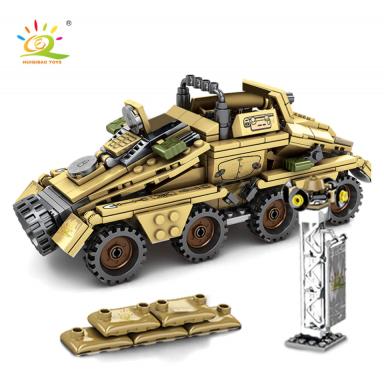 HUIQIBAO 395 Uds. Militar WW2 ejército blindado vehículo soldado bloques de construcción figuras arma Alemania camión de bloques