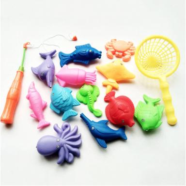 Juego de 14 unids/set de juguetes interactivos magnéticos de pesca para padres e hijos, 1 caña, 1 red, 12 peces en 3D, juguetes