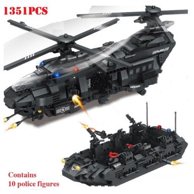 1351 Uds., equipo militar Swat, fuerza especial de policía, helicóptero de transporte, bloques de construcción compatibles con L